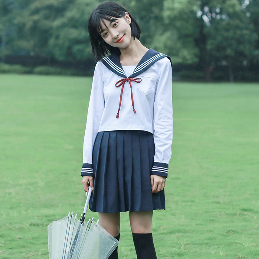 Navy Sailor Costume Japanese School Uniform Japanese Korean Style Fashion Sweets Kawaii Girls Skirts Clothing Anime Cosplay
