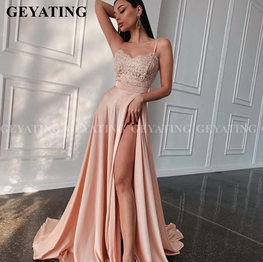 Sexy Spaghetti Straps High Slit Rose Gold Long Prom Dresses 2020 Vestido De Graduacion Appliques Gala Dress Formal Evening Gowns