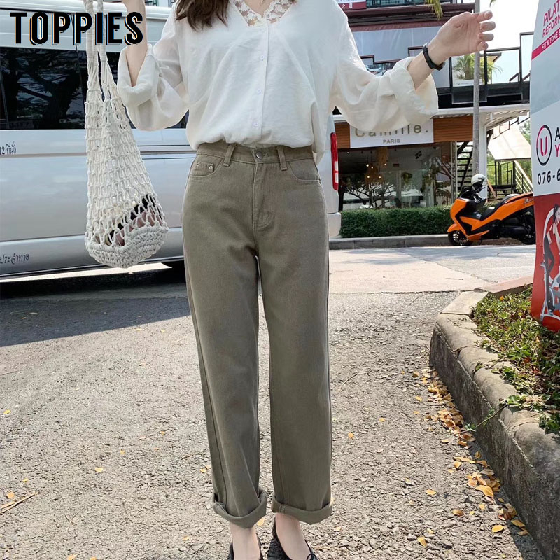 Khaki Denim Pants Women Torusers 2020 Spring Vintage High Waist Leisure Straight Pants Pantalones Mujer