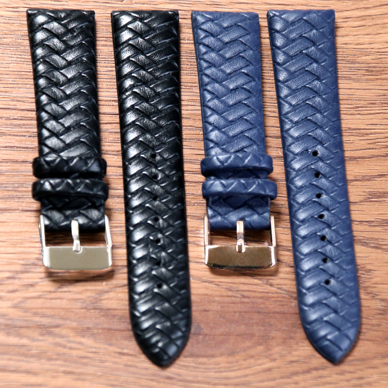 20 Mm Woven Pattern Blue Black Soft Watch Strap Replacement  Braided Watch Band Leather With Stainless Steel Buckle High Quality