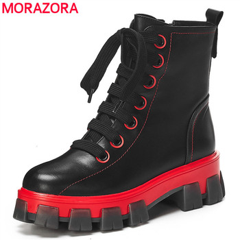 MORAZORA 2020 New Cow genuine leather boots women lace up round toe platform boots round toe autumn winter ankle boots female фото