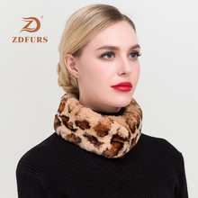 ZDFURS*2019 New Women Full Pelt Natural Rex Rabbit Fur Scarves Girl Real Magnet Scarf Winter Warm Muffler