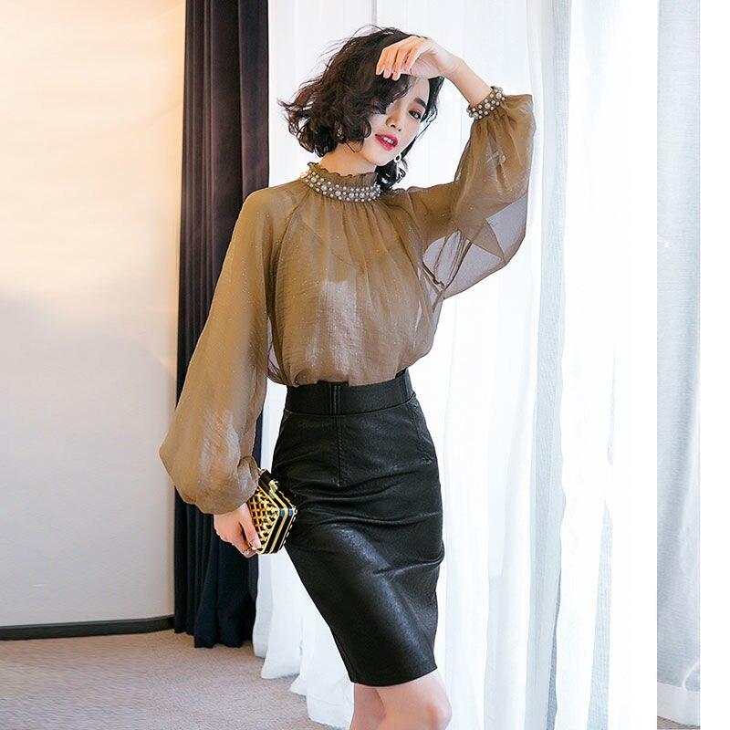3 Pcs Elegant Clothing Set Women's Long Lantern Sleeve Shirts Loose Pearls Beaded Blouse Tops PU Slim OL Skirt Suits Set NS624