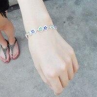 999 Sterling Silver Bangles Women Silver Bracelet Flowers Hearts Thick Silver bangle Cloisonne Enamel Jewelry Blue Hand Chain