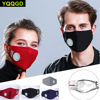 1Pcs Fashion Unisex Cotton Breath Valve Mouth Mask Cloth Activated carbon filter respirator