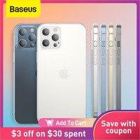 Baseus-funda de teléfono para iPhone 12 11 Pro Max Mini, carcasa trasera completa de protección de lente para iPhone, funda suave transparente