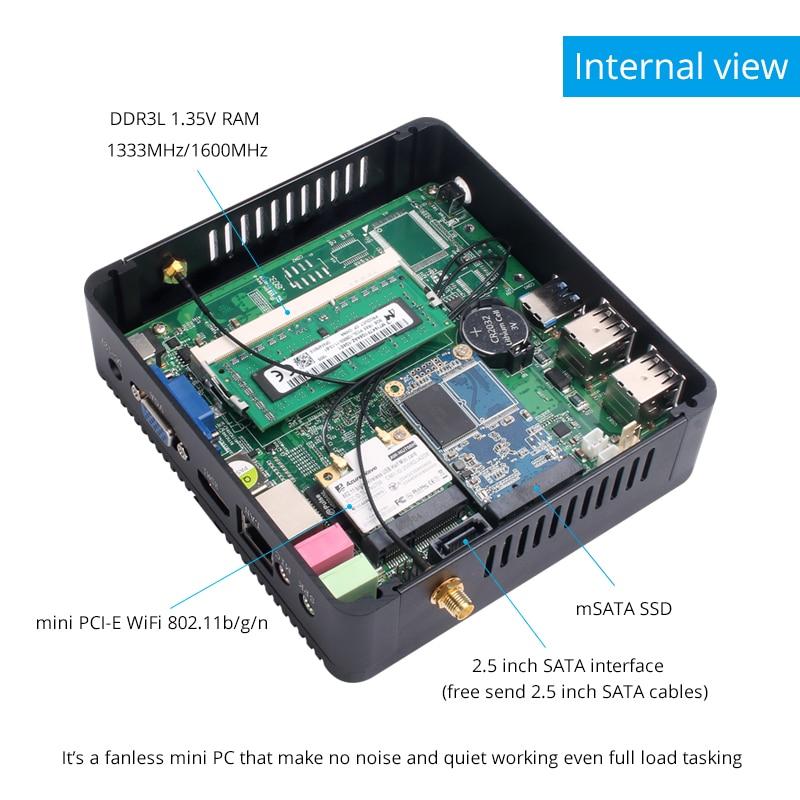 New Arrival 8gb Ram 120G SSD 2 X Lan COM Mini Computer Fanless HTPC Computer Screen