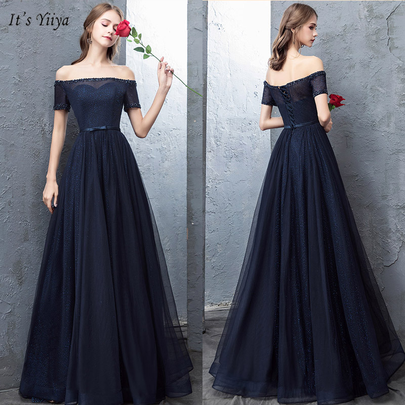 It's Yiiya Evening Dress Elegant Boat Neck Short Sleeve Robe De Soiree Crystal Off Shoulder A-Line Women Party Dresses V073