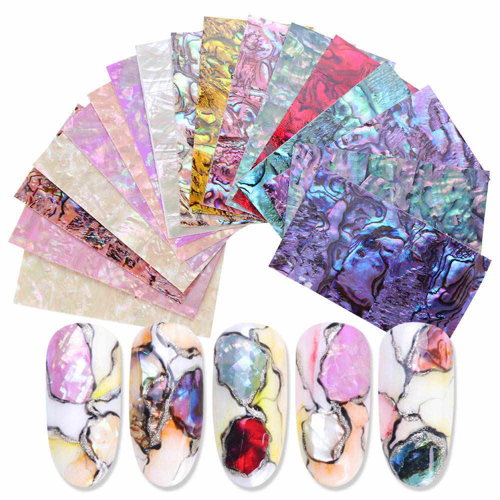 1Pc Parel Nagels Polish Folies 3D Glimmer Abalone Shell Patroon Stickers Wraps Marmer Mermaid Decals Nail Art Decoratie