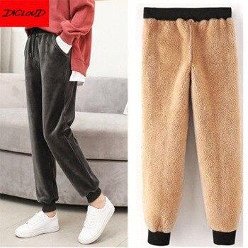 Pantalones de deporte de invierno para mujer Pantalones de entrenamiento de lana de terciopelo dorado sólido grueso cálido invierno Pantalones deportivos femeninos Pantalones para correr
