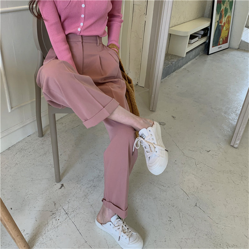 HziriP Vintage Solid Loose High Waist All Match Slender OL 2020 New Arrival Brief Pants Retro Streetwear Straight Hot Trousers