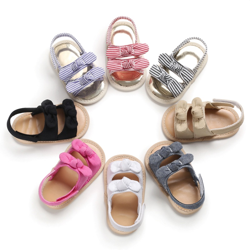 Baby Girl Summer Soft Sole Shoes Bowknot Sandals Toddler Infant Prewalkers Cotton Baby Sandals
