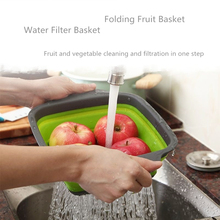 Foldable Fruit Vegetable Washing Basket StrainerSilicone Colander Collapsible Drainer With Handle Kitchen Tools