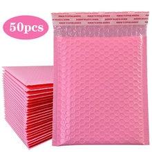 50 unidades/pacote envelopes acolchoados mailer bolha, a4 a5 envelopes poli mailer auto-selo rosa