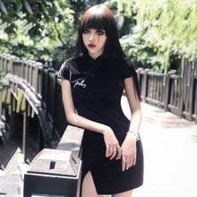 女性 Woemn ベルベットドレス中国チャイナ原宿セクシーなドレス夏スキニースリムドレスゴシックパンク黒ピンクレトロ Vestidos
