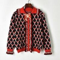 Plaid Women Sweater Knitted Cardigan Ruffle Black Long Sleeve Turndown Collar Autumn Winter Vintage Korean Jumper Pink