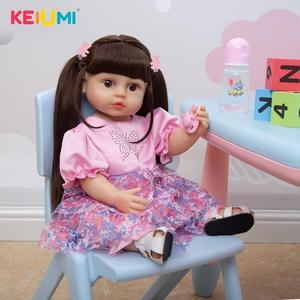 Alive 55 CM Boneca Reborn Doll Soft Full Silicone Newborn Doll For Girl 22 Inch Realistic Waterproof For Kids Christmas Gifts