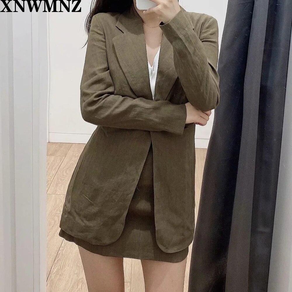 За адаптированные белье пиджак цвета хаки с длинным рукавом блейзер из льна с воротником V-образным вырезом плиссированные детали на талии