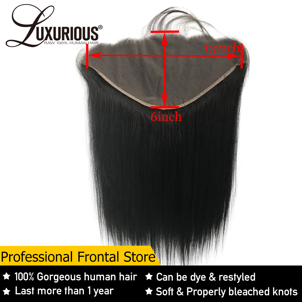 Lace-Frontal-Closure Human-Hair Free-Part Ear-13x6 Pre-Plucked Remy Straight Brazilian title=