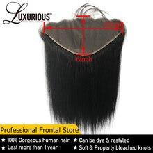 Perruque Lace Frontal Closure brésilienne naturelle Remy, cheveux lisses, oreille à oreille, 13x6, avec Deep Part, 8-20 pouces, pre-plucked, partie libre