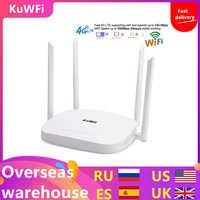 KuWFi 4G LTE Wifi Router 300 Mbps 3G / 4G Roteador Sem Fio CPE com Slot Para Cartão Sim Suporte 4G para LAN Com 4 pcs Antenas até 32users