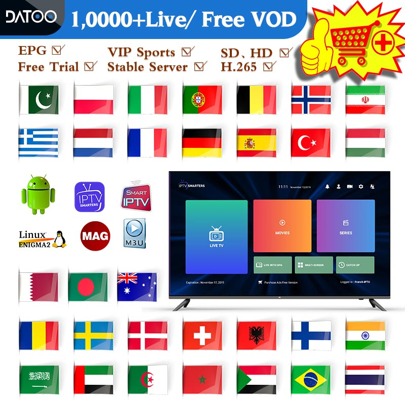 Datoo Spain IPTV France German Sweden Arabic Android IPTV M3u Netherlands Portugal Greek IPTV Spanish Belgium IPTV Subscription