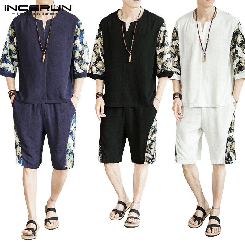 INCERUN Chinese Style Men Sets Cotton Retro 2020 Printed Patchwork Casual Half Sleeve Shirts Shorts Streetwear Summer Mens Suit
