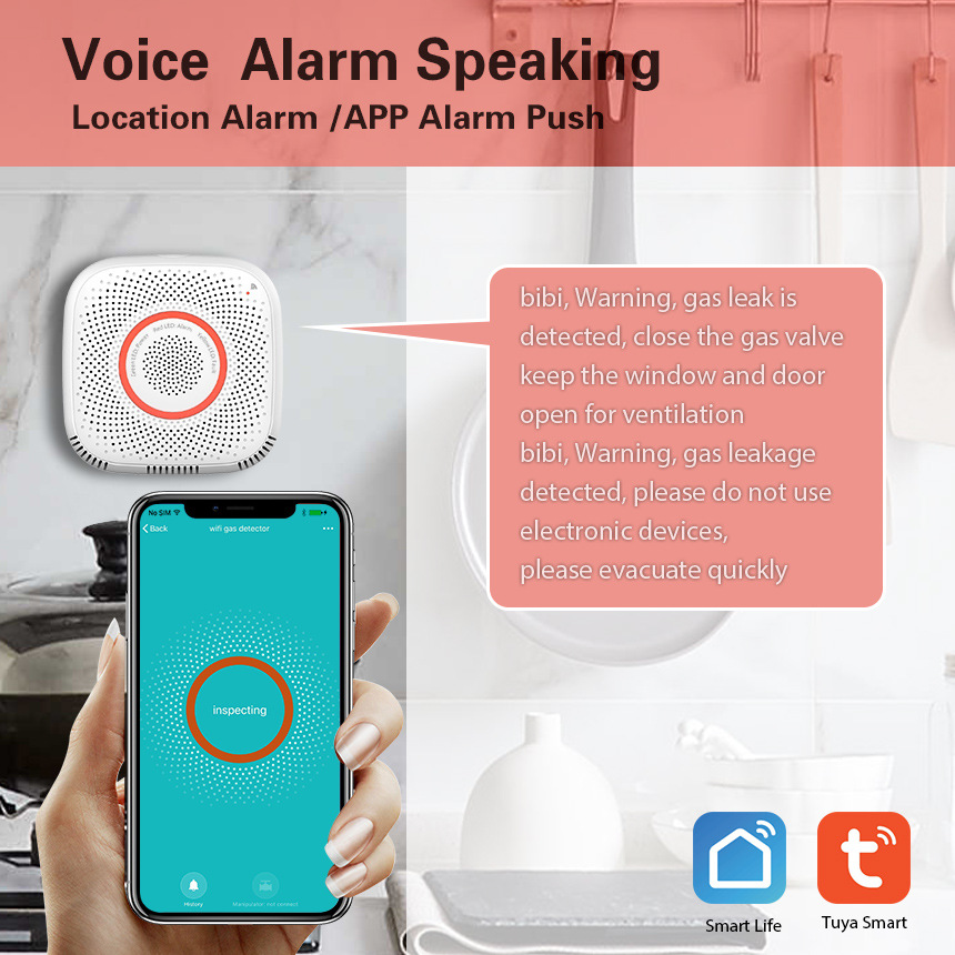 Wifi Smart Phone Remote Alarming Combustible Biogas CH4 Leak Detector Fire Security Linkage Safety Smart Home Leakage Lpg Sensor
