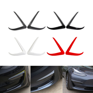 1 Pair Car Front Blade Trim ABS Black Carbon Fiber White Red For Tesla Model 3 2017-2020 Light Eyebrow Wind Knife Fog Lamp Frame
