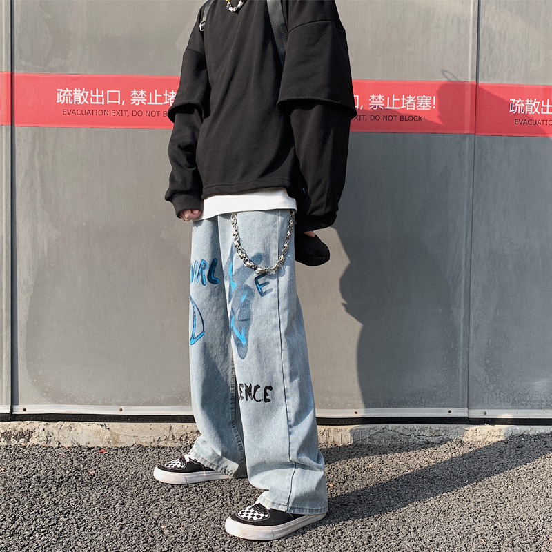 2019 Autumn And Winter New Style Graffiti Printing Jeans Fashion Casual Couple Loose Straight Pants Trend Blue S-2XL