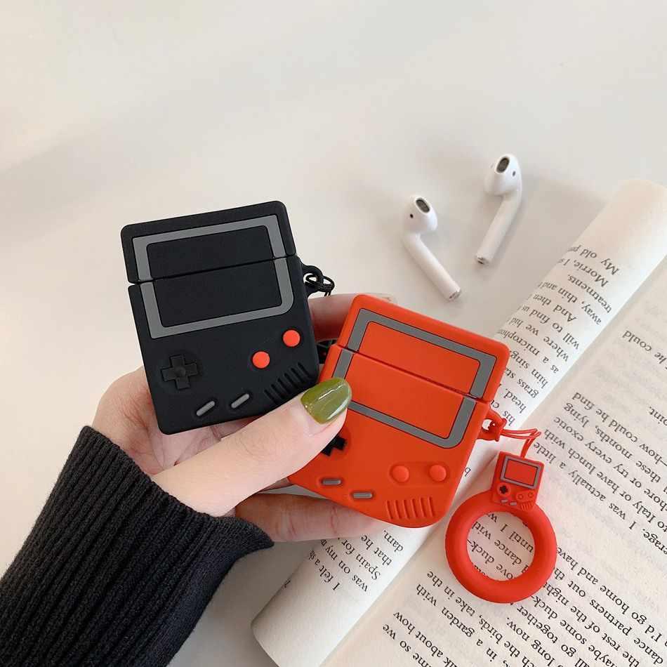 Per AirPods Caso Sveglio 3D del Gioco del Trasduttore Auricolare Per Il Caso di Apple Air Caso 2 Del Silicone Sveglio Della Copertura per Airpods baccelli Earpods anello di barretta Cinghia