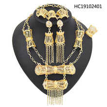 Yulaili African Bridal Jewelry Sets Fashion Rhinestone Gold Color Necklace Earrings Ring Bracelet for Women Party Accessories a suit of stylish rhinestone irregular wave necklace bracelet ring and earrings for women