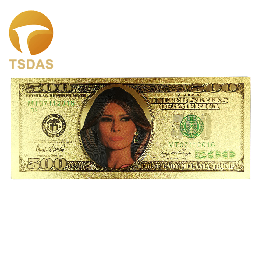 The First Lady Melanie Trump Newest Commemorative Bills Gold Foil Plated 500 Dollars Banknote Money For Gift