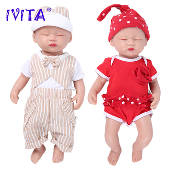 IVITA WG1509 38cm 1.8kg 100% Full Silicone Reborn Doll Eyes Closed Realistic Baby Born Alive Toys with Clothes for Children Gift ivita 100
