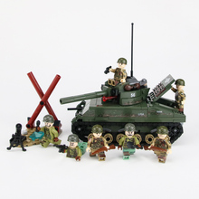 NEW Military Sherman M4 Tank US Army Soldiers Figures Building Blocks legoed WW2 Helmet Weapon Bricks Parts Toys