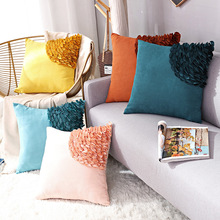 Nordic Style Pillow Case Cushion Cover for Sofa Chair Craft Flower Suede Pillow Cover Living Room Bedroom Pillowcase Decor 2019 newest plaid pillow case 45 45cm cotton and linen pillow cover elastic cushion cover for living room bedroom office decor