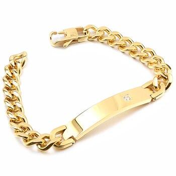 GOKADIMA Mens Gold Color Stainless Steel ID Bracelet 2020 New Arrivals,Rhinestone, Wholesale Jewelry,WB743