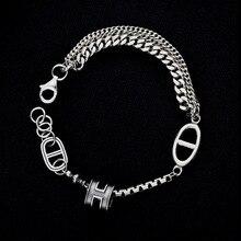 Чистое Серебро S925 Серебряное винтажное несколько цепей сплайсинга звено цепи браслет 925 серебряные ювелирные изделия(YRT