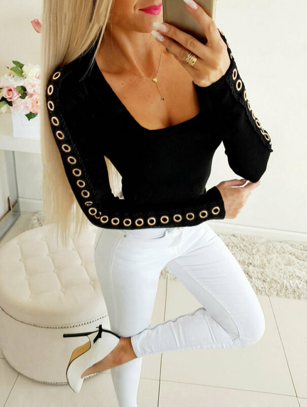 Hot Fashion Sexy Hollow Out T-Shirt Women Lady Pullover Top Bodycon Autumn Casual Long Sleeve Slim T-Shirt Top Girls Outwear