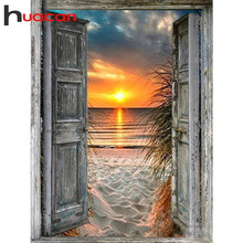 Huacan 5D DIY Diamond Painting Full Square Sunset Door Diamond Embroidery Mosaic Landscape Seaside Decorations Home Art
