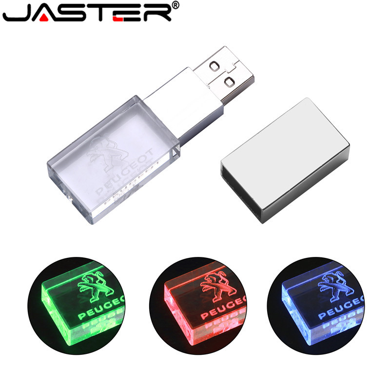 JASTER Peugeot Crystal + Metal USB Flash Drive Pendrive 4GB 8GB 16GB 32GB 64GB 128GB External Storage Memory Stick U Disk