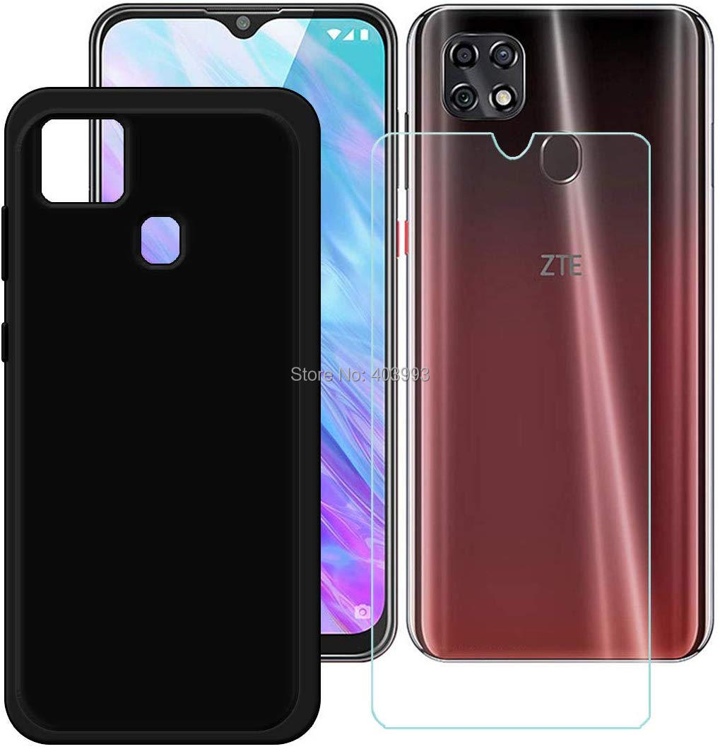For ZTE Blade 20 Smart Case Glass Luxury Soft TPU Phone Case With Tempered Glass For ZTE Blade 20 Smart 2019 V1050 Cases 6.49''
