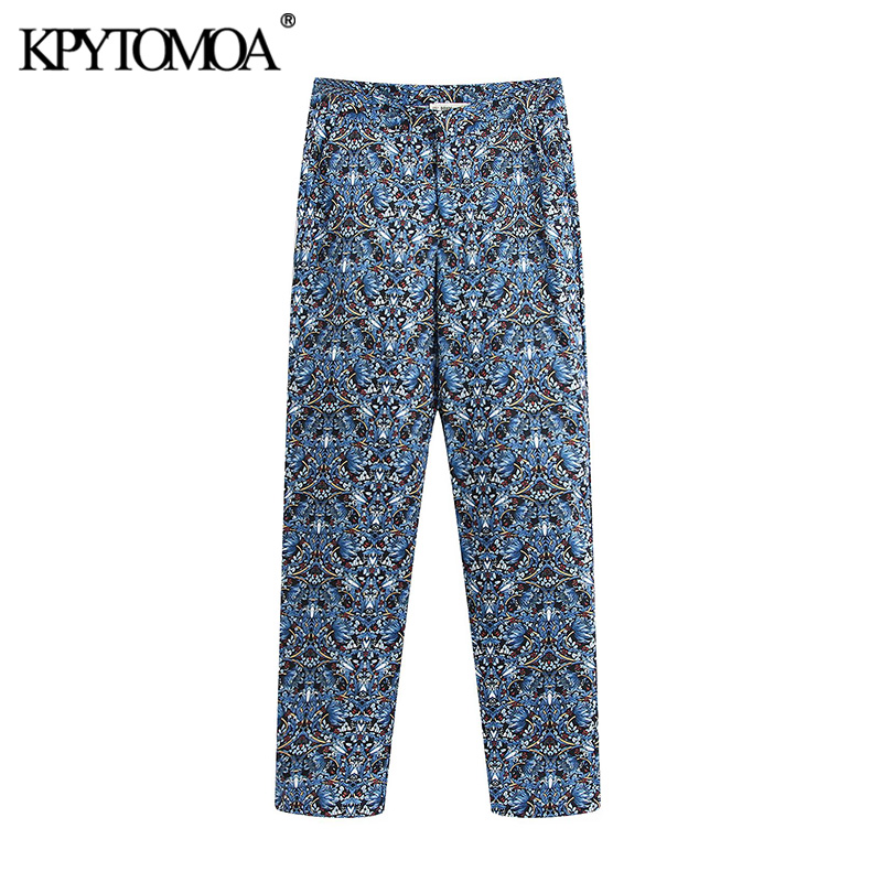 KPYTOMOA Women 2020 Chic Fashion Floral Print Straight Pants Vintage High Waist Zipper Fly Side Pockets Female Trousers Mujer
