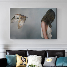 Abstract Woman And Bird Back To Back Posters Pictures Modern Wall Art Canvas Painting