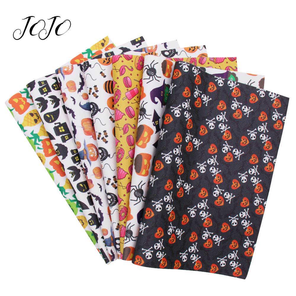 JOJO łuki 22*30cm 1pc Halloween Faux skóry syntetycznej tkaniny dla rzemiosła czarownica Flamingo z dyni z nadrukiem arkusz dla dostaw...