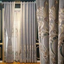 Luxo chenille cortinas de sombreamento chinês oco bordado cortinas para sala estar jantar quarto