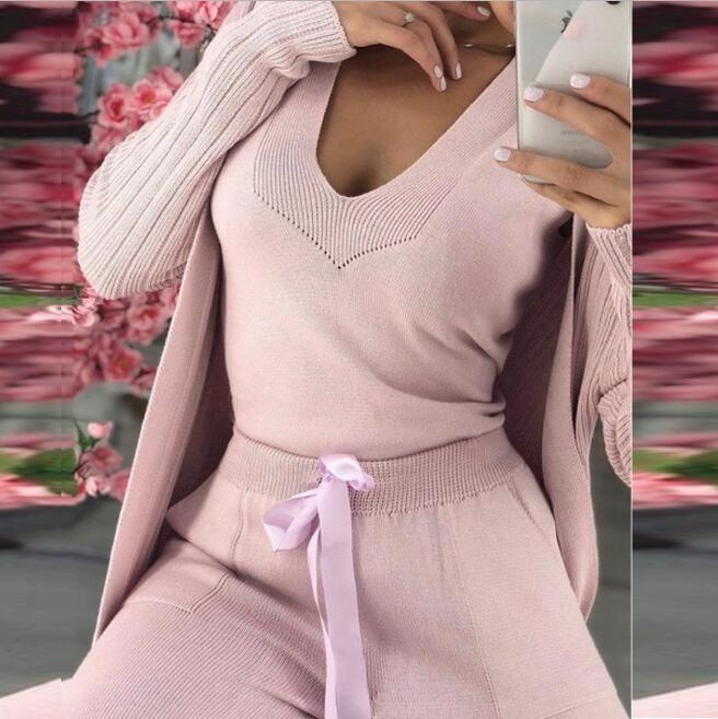 2019 New Fashion 3 Pieces Set Women's Knit Suit Long Sleeve Soft Wool Warm Thcik Female Winter Cltohes  Fashion Suits