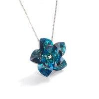Оригинальные кристаллы от Swarovski-элементы цветок кулон ожерелье для женщин Серебряный цвет сердца DIY ожерелье ювелирные изделия подарок для ...