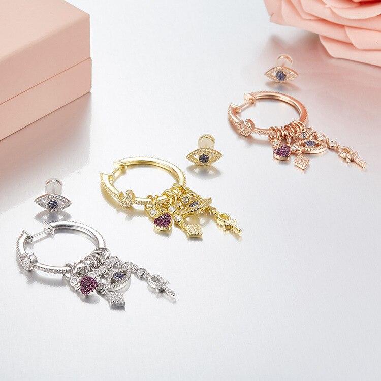 Mode chanceux boucles d'oreilles breloques avec coeur lune charmes 925 bijoux en argent sterling monaco style femmes filles couleur or yeux boucles d'oreilles