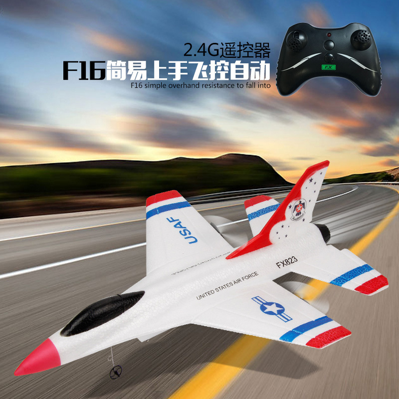 Remote Control Glider F16 Fighter Plane/Fx-823 Drop-resistant EPP Foam Fixed-Wing Remote Control Aircraft Airplane Model Toy